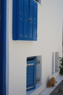Casas brancas e azuis